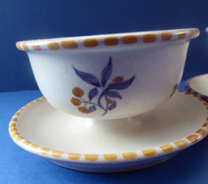PAIR 1920s POOLE Carter, Stabler and Adams: Small Footed Bowls or Grapefruit Dishes