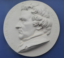 Load image into Gallery viewer, SCOTTISH ART. Rare Large Plaster Roundel by Alexander STODDART (b. 1959). Portrait of the architect, Alexander Greek Thomson