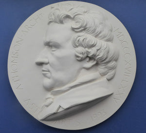 SCOTTISH ART. Rare Large Plaster Roundel by Alexander STODDART (b. 1959). Portrait of the architect, Alexander Greek Thomson