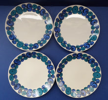 Load image into Gallery viewer, Rare Norwegian FIGGJO FLINT Saturn Pattern FOUR Dessert Plates: 8 inches. Kirsten Dekor Range;  1960s