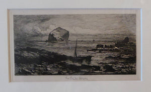 SCOTTISH ART. George Straton Ferrier (1852 - 1912). View of the Forth with the Bass Rock in the Distance. Etching on paper