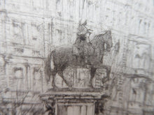 Load image into Gallery viewer, LISTED ARTIST. William Walcot (1874 - 1943). Charing Cross, London (Statue of King Charles I); Pencil Signed, 1919