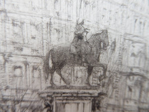 LISTED ARTIST. William Walcot (1874 - 1943). Charing Cross, London (Statue of King Charles I); Pencil Signed, 1919