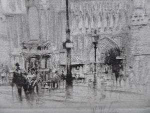 LISTED ARTIST. William Walcot (1874 - 1943). Westminster Abbey and Parliament Square, London; Pencil Signed, 1919