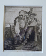 Load image into Gallery viewer, ORIGINAL Etching by Robert Sargent Austin. Man with a Crucifix. Pencil signed and dated 1924