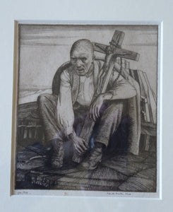 ORIGINAL Etching by Robert Sargent Austin. Man with a Crucifix. Pencil signed and dated 1924