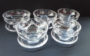 STUART CRYSTAL Woodchester FIVE Matching Sundae Dishes or Bowls. Excellent Condition with Shorter Stem and Flared Foot Section