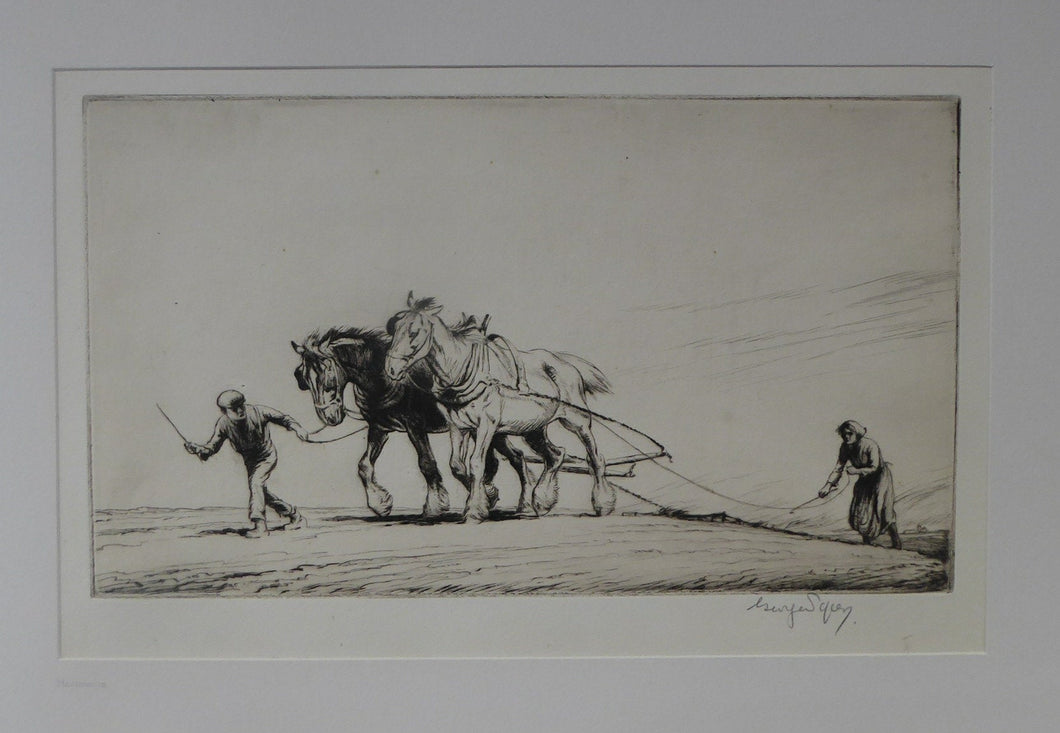 Original Etching by GEORGE SOPER (1870 - 1942). Harrowing, 1919. Signed in Pencil