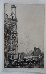 SCOTTISH ART. Ernest Stephen Lumsden. Etching entitled: Paris in Construction (no. 3). Pencil Signed; 1907