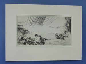 MARINE ART. Arthur Briscoe (1873 - 1943). Etching entitled: Flooded Decks. Signed and dated  1931