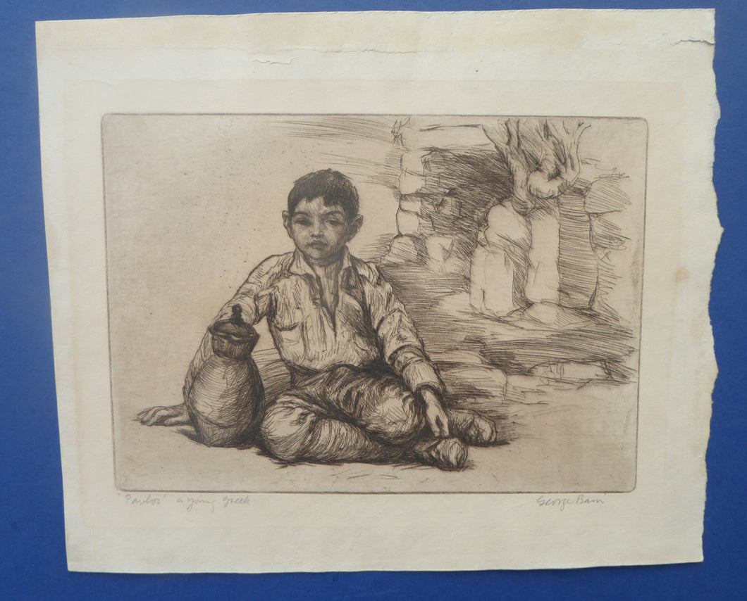 SCOTTISH ART. 1920s Original Etching by George BAIN (1881 - 1968). Rare Document of his Balkan Tours. Pencil Signed