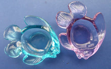 Load image into Gallery viewer, Vintage Matching Pair of Moulded Glass Fish Bowls in Blue and  Lilac Coloured Glass. Nice Heavy Glass Pieces, c 1960s
