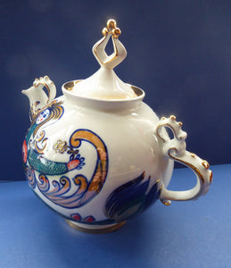1970s SOVIET Porcelain Teapot by Korosten. LARGE Model with Images of Exotic Russian Mermaids All Around