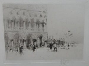 LISTED ARTIST. William Walcot (1874 - 1943). Etching of St Mark's Square, Venice. Signed