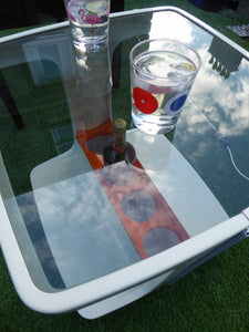 Original SPACE AGE 1970s Marc Held Drinks Trolley with Smoked Glass Top. White Plastic with Orange Bottle Holders