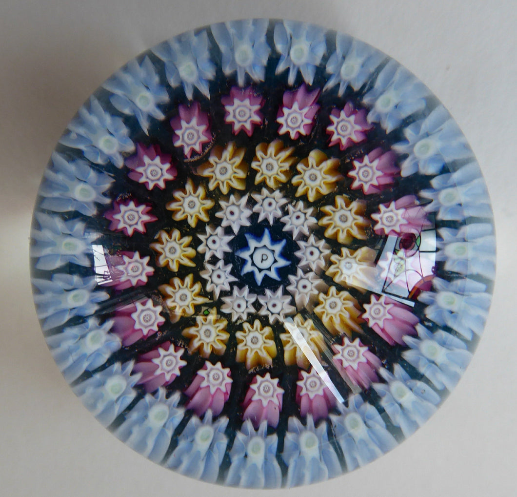 Vintage Scottish PERTHSHIRE Miniature Paperweight. Carpet of Millefiori with Central P Cane