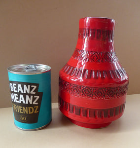 1960s Red Abstract Vase. Fabulous Shape and Colour, with Incised Decoration