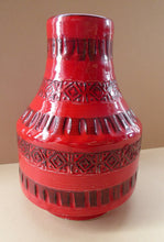 Load image into Gallery viewer, 1960s Red Abstract Vase. Fabulous Shape and Colour, with Incised Decoration