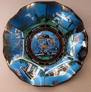 1964 NEW YORK World Fair Commemorative Glass Plate with Images from the Exhibition. 7 Inches