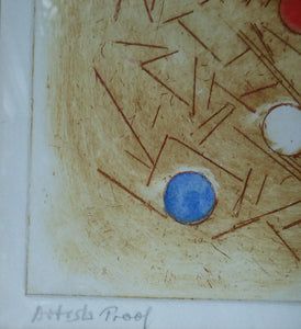 DOLF RIESER (1898 - 1983). South African Artist. Colour Etching. Abstract Composition with Coloured Spots. Artist's Proof SIGNED