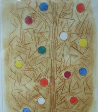Load image into Gallery viewer, DOLF RIESER (1898 - 1983). South African Artist. Colour Etching. Abstract Composition with Coloured Spots. Artist's Proof SIGNED