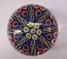 Load image into Gallery viewer, Scottish Glass. Strathearn Millefiori Canes and Latticino Eight Spoke Paperweight