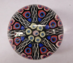 Scottish Glass. Strathearn Millefiori Canes and Latticino Eight Spoke Paperweight