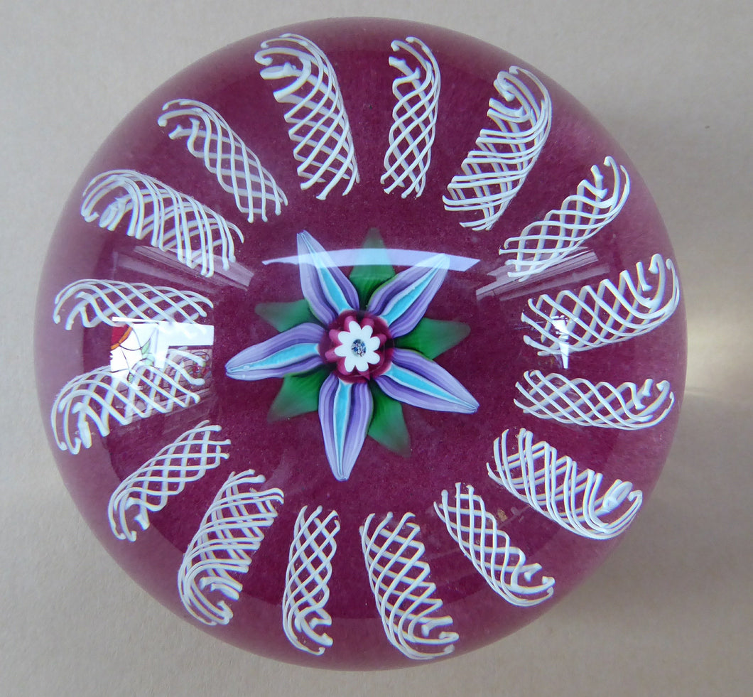 Paul Ysart HARLAND PAPERWEIGHT; with Pink Ground, Pretty Central Flower and Latticino Canes. Signed with H Cane