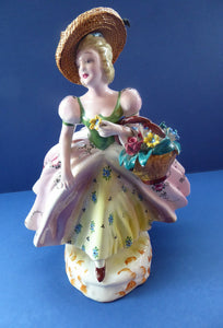Vintage 1940s Italian Porcelain Figurine of a Lady Carrying a Basket of Flowers. Possibly Capodimonte