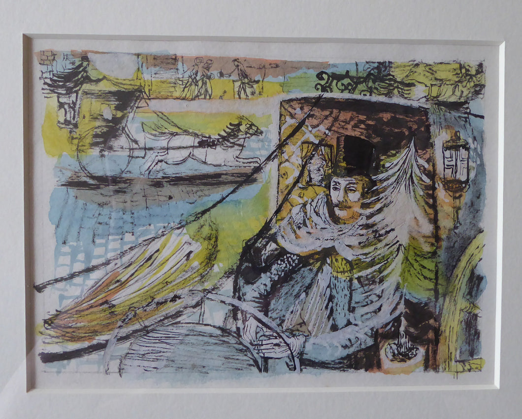 EDWARD GAGE. Listed Scottish Artist. Watercolour Painting Over Pen and Ink: The Hanson Cab II