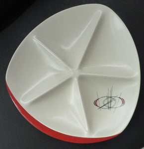 1950s ATOMIC Carlton Ware Orbit Pattern Large Serving Platter. Very Rare Dish with five compartments