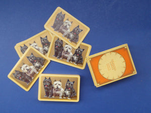 Playing Cards. Rare 1930s ART DECO Deck with Cute Terriers Design on Each Card. Original Card Box