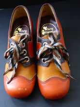 Load image into Gallery viewer, Child's 1970s Vintage PLATFORM SHOES. Designed by NORVIC: Young Generation Range. Two-Tone Orange & Mustard Leather