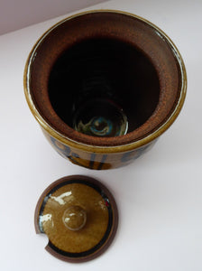 STUDIO POTTERY: Coxwold Pottery Lidded Pot by Peter Dick. With impressed mark; c1970s