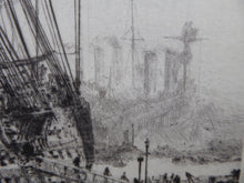 Load image into Gallery viewer, ORIGINAL ETCHING: William Lionel Wyllie (1851 – 1931) HMS Victory in Portsmouth Dockyard.  Pencil Signed