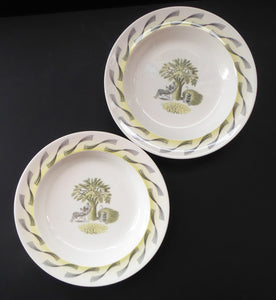 "ERIC RAVILIOUS. Vintage 1953 Original Wedgwood Shallow Soup or Pudding Plates from the ""Garden Series"". 9 1/4 inches"