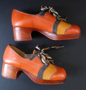 Child's 1970s Vintage PLATFORM SHOES. Designed by NORVIC: Young Generation Range. Two-Tone Orange & Mustard Leather