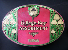 Load image into Gallery viewer, Rare Early 20th Century Art Nouveau Large Toffee Tin - College Boy Assortment by W M Livens & Co Ltd (Newcastle)