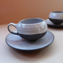 Load image into Gallery viewer, Vintage DANISH Ditlev Keramik. Pair of Miniature or Demi-Tasse Stoneware Coffee Cups; 1960s