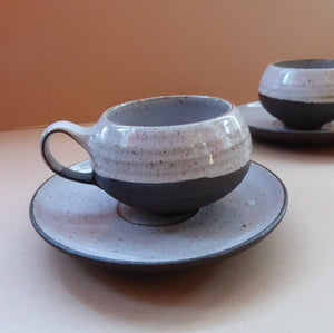 Vintage DANISH Ditlev Keramik. Pair of Miniature or Demi-Tasse Stoneware Coffee Cups; 1960s