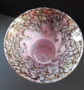 Genuine MONART Scottish Glass. Thistle Shape Art Glass Vase. 5 1/4 inches in height. Pale Pink with Swirls & Gold Aventurine Flakes