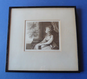 1778 Francesco BARTOLOZZI Etching after Lady Diana Beauclerk, Duchess of Devonshire. Original 18th Century Stipple Engraving