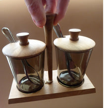 Load image into Gallery viewer, 1960s Pair of Jam or Pickle Pots with Teak Lids & Stand. Smoky Brown Glass Pots and Matching Glass Spoons. Design Centre Award Label