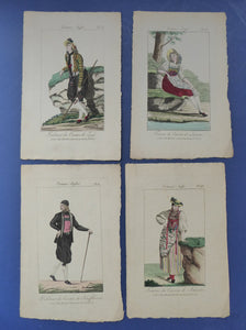 SWISS CANTONS. Regional Costume Studies. Four ANTIQUE 19th Century Hand Coloured Engravings