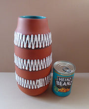 Load image into Gallery viewer, 1960s WEST GERMAN Vase. Scheurich 203-26. Exterior with Matt Terracotta Glaze; the Interior with Glossy Turquoise Glaze
