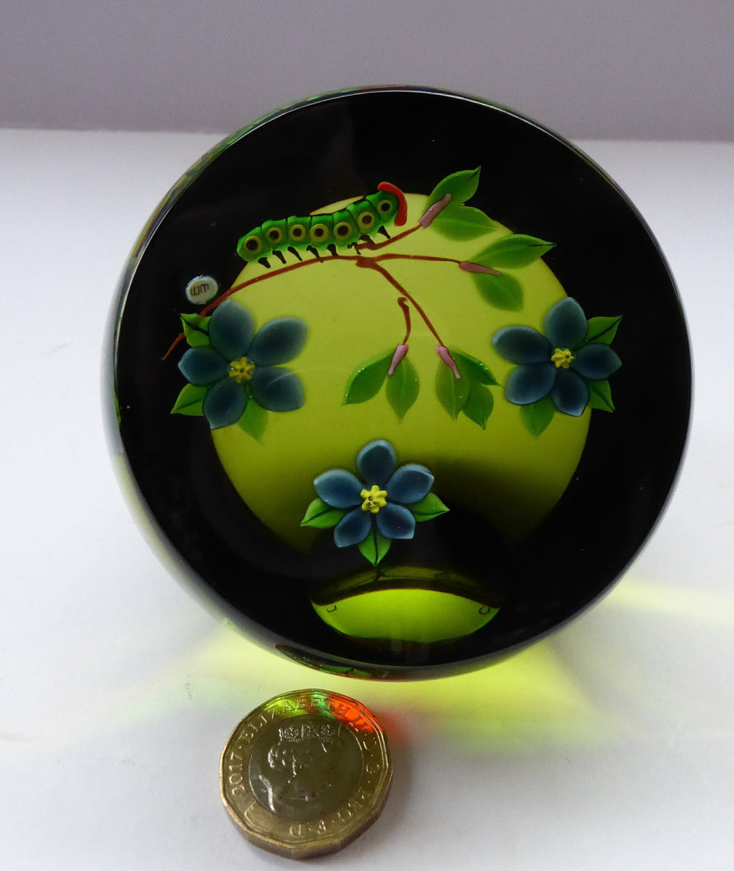 993 Limited Edition Caithness CATERPILLAR Paperweight by William Manson