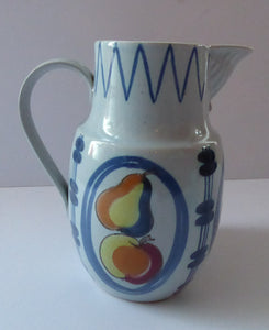 1950s Scottish Pottery BUCHAN Large Stoneware Jug BRITTANY Pattern with apples & pears