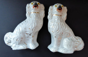 Antique Pair of Staffordshire Dogs Chimney Spaniels / Wally Dugs; 9 1/2 inches with yellow painted eyes, c1880s