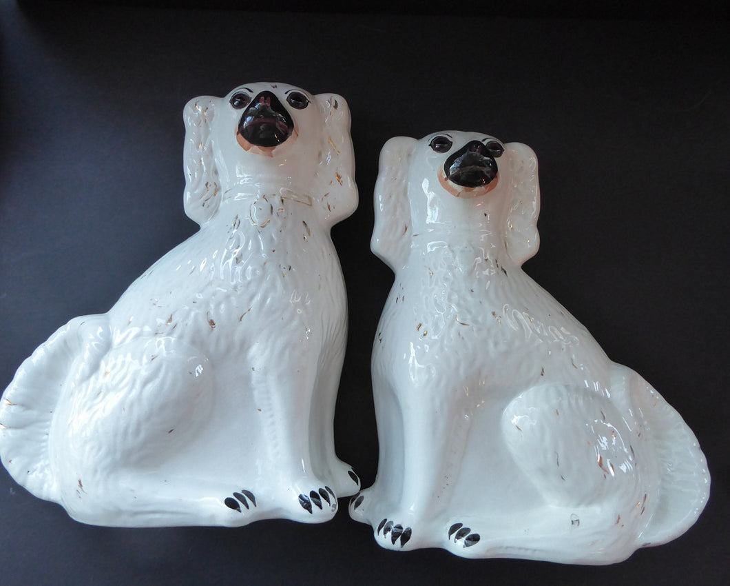 LARGE Staffordshire Dogs Chimney Spaniels / Wally Dugs. 12 inches. ANTIQUE PAIR with dark brown glass eyes; 1880