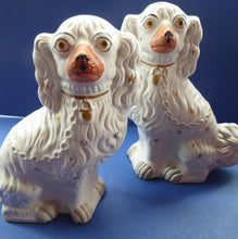 Load image into Gallery viewer, LARGE Antique Pair of Staffordshire Dogs Chimney Spaniels / Wally Dugs; with yellow painted eyes, c1880s